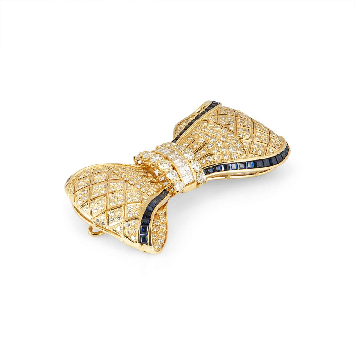 Yellow Gold Diamond and Sapphire Bow Brooch